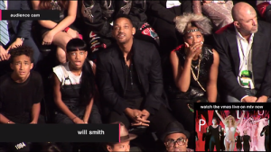 Will Smith & Kids at MTV last night- looks like they saw a ghost!