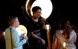 "Macklemore. Jennifer Hudson & Mary Lambert performing 'Same Love."""