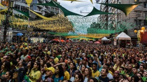 fans watching the game in Sao Paulo